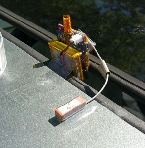 Pager with gps attached in car